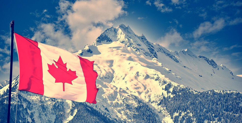 Canada flag mountains stock