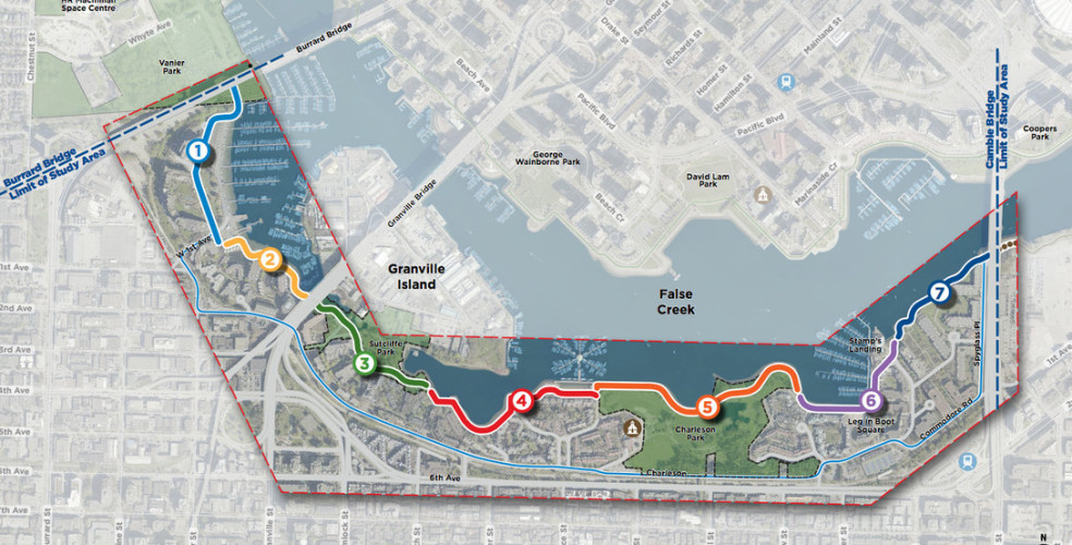 Separated bike lanes and pedestrian paths planned for South False Creek seawall