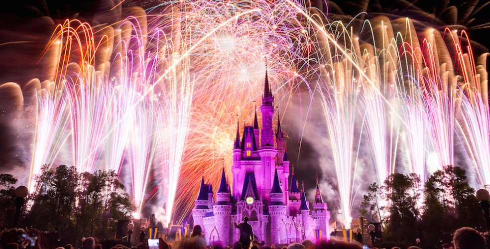Disney world magic kingdom castle fireworks 984x500