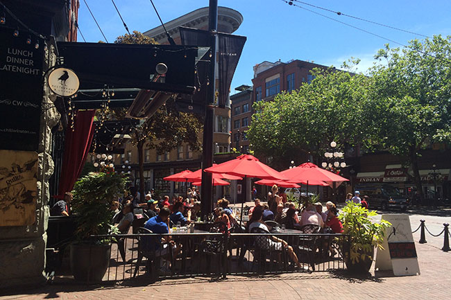 Chill Winston's sunny patio (Jess Fleming / Daily Hive)