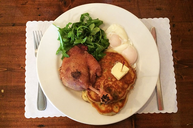 Brunch special: duck confit, poached eggs & green onion pancakes (Jess Fleming / Daily Hive)