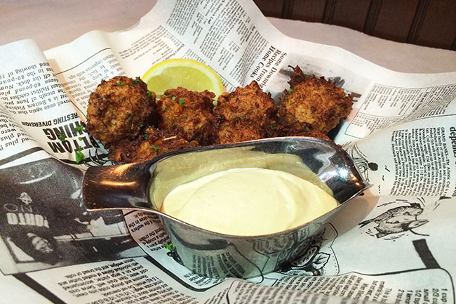 Crab & corn cakes (Jess Fleming / Daily Hive)