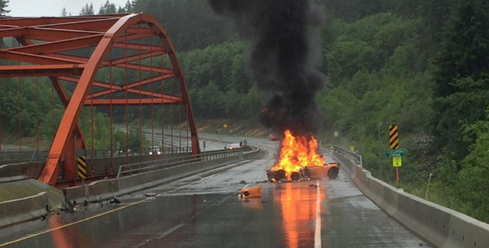 Lamborghini bursts into flames on Sea-To-Sky Highway