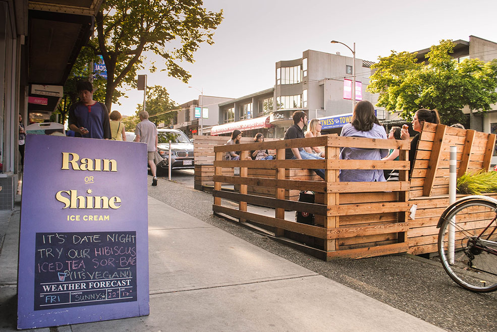 Sunny Slopes parklet sponsored by Rain Or Shine'Ice Creamon 4th Avenue (Rain Or Shine)