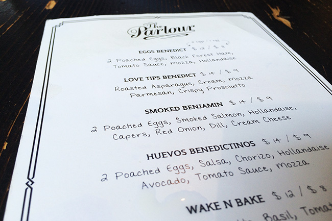 Brunch menu (Jess Fleming / Daily Hive)