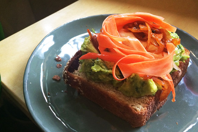 Avocado & Slow Poached Brioche Sandwich (Jess Fleming / Daily Hive)