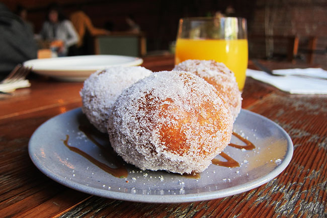 Mini donuts with salted caramel drizzle (Jess Fleming / Daily Hive)