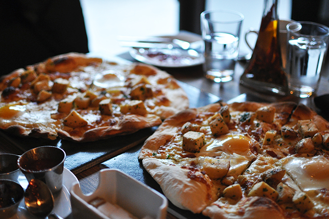 Brunch pizzas at Grotto (Jess Fleming / Daily Hive)
