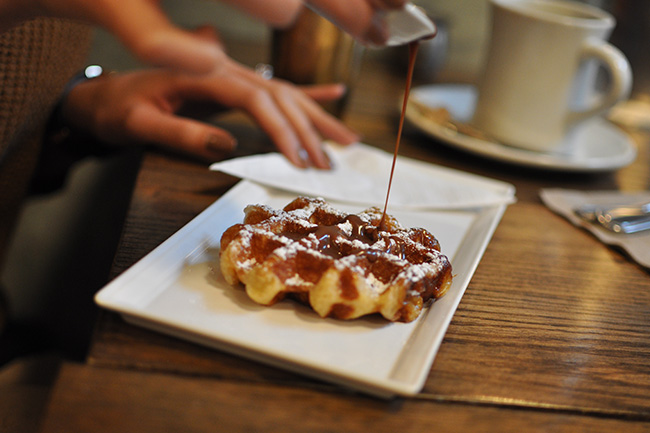 Cafe Medina's Liege Waffles (Jess Fleming/Daily Hive)