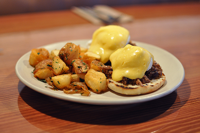 Braised Duck Eggs Benny (Jess Fleming / Daily Hive)