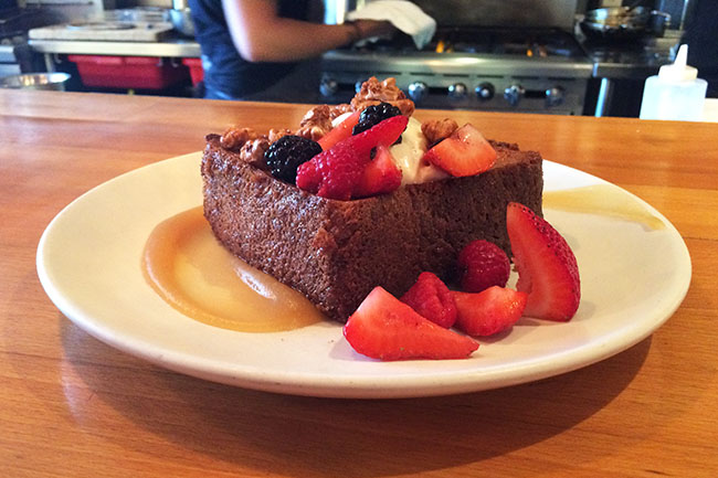 French toast with mascarpone, berries & candied walnuts (Jess Fleming / Daily Hive)