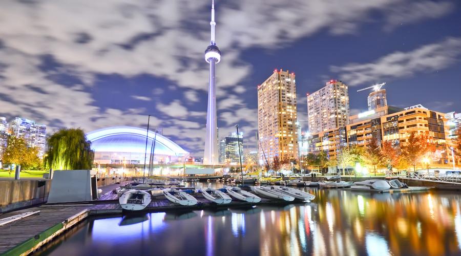 Toronto skyline night water
