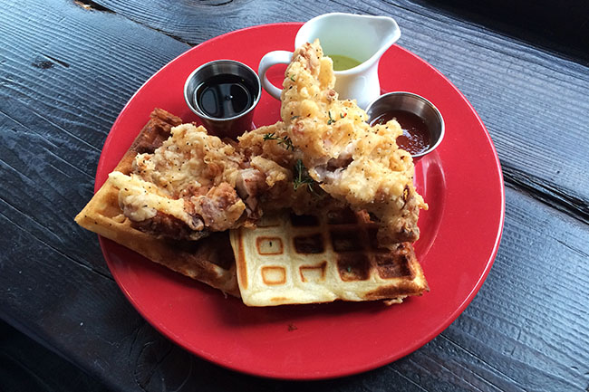 Crispy fried chicken and waffles (Jess Fleming / Daily Hive)