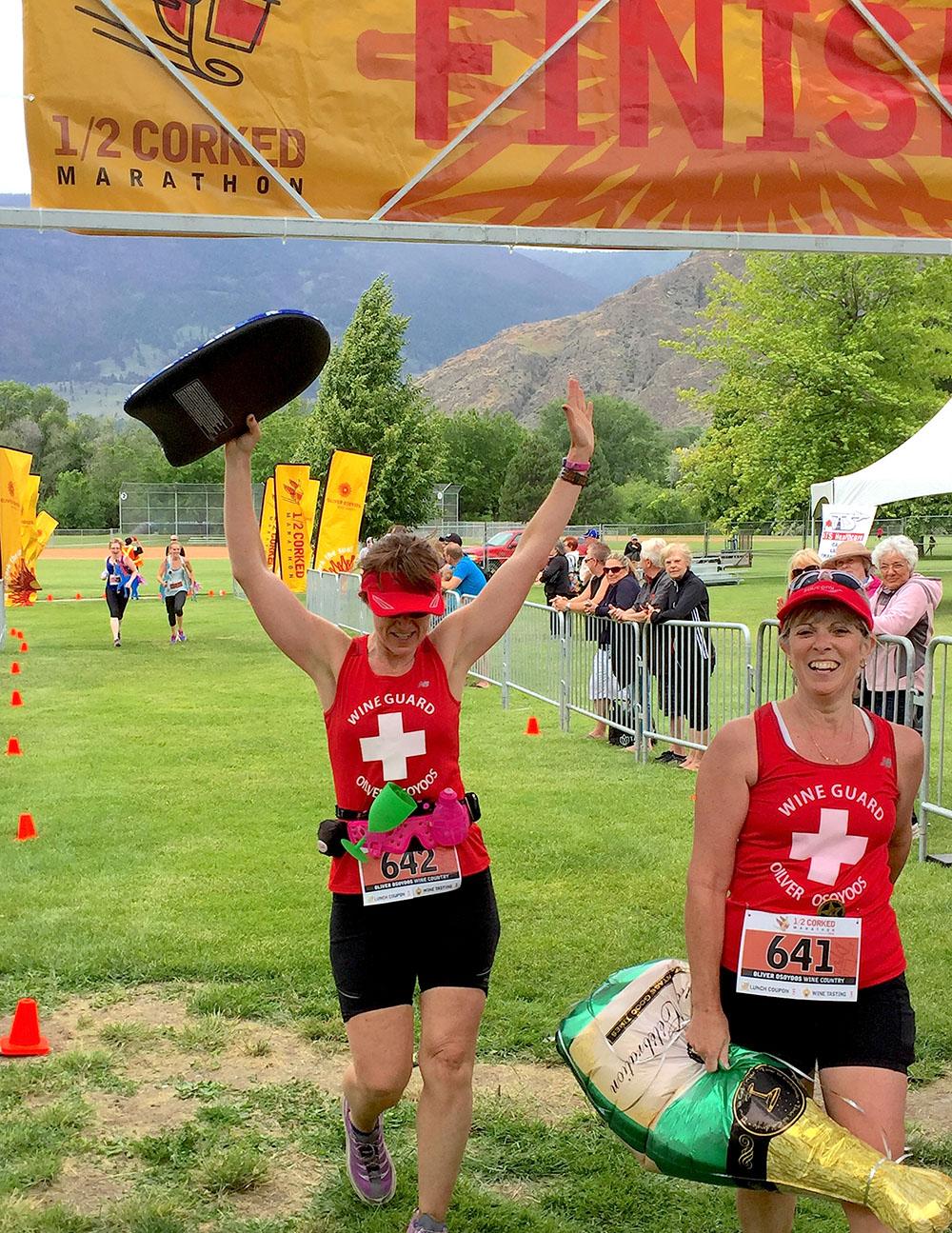 Crossing the finish line at the Half-Corked Marathon (Adrian Brijbassi)