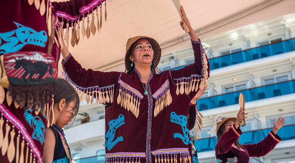 Traditional dancers at National Aboriginal Day in Canada Place (Port of Vancouver)