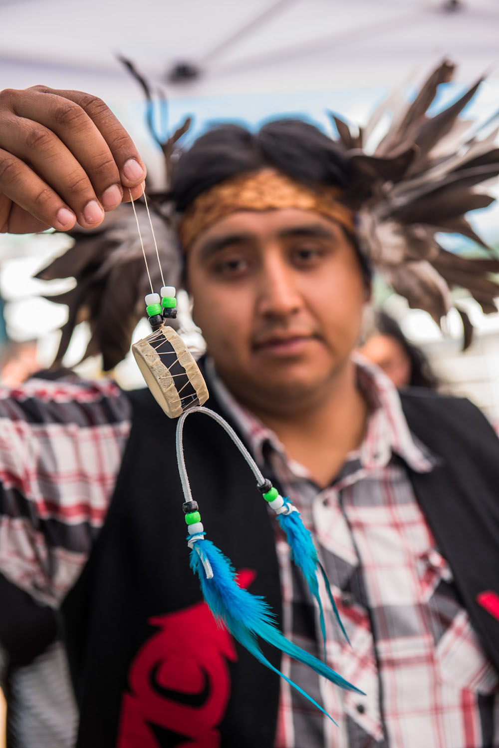 Traditional crafts at National Aboriginal Day in Canada Place (Port of Vancouver)