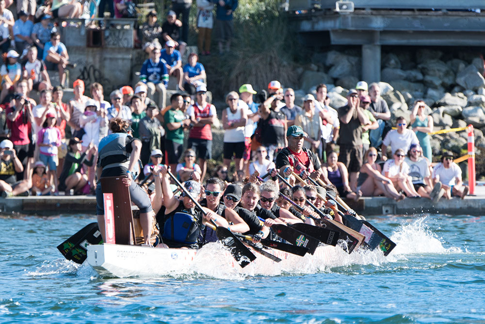 Dragon boat racers sprinting down False Creek for the Dragon Boat Festival (Dragon Boat Festival)