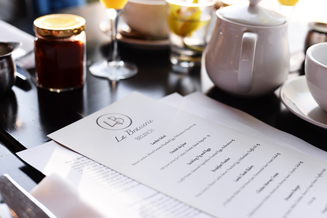 Brunch menu at La Brasserie (Jess Fleming / Daily Hive)