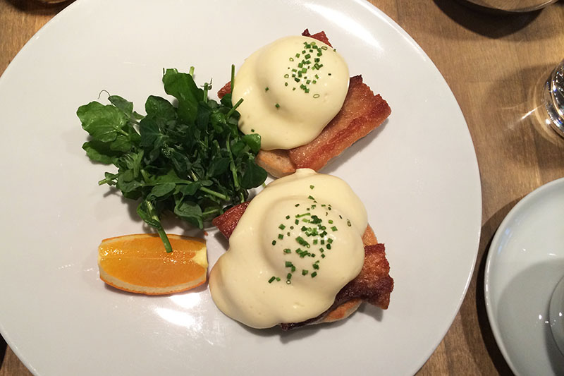 Poached eggs with pork belly (Jess Fleming / Daily Hive)
