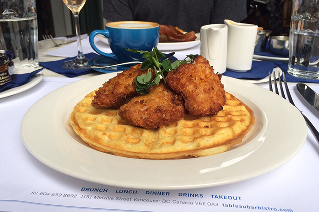 Fried chicken and waffles (Jess Fleming / Daily Hive)