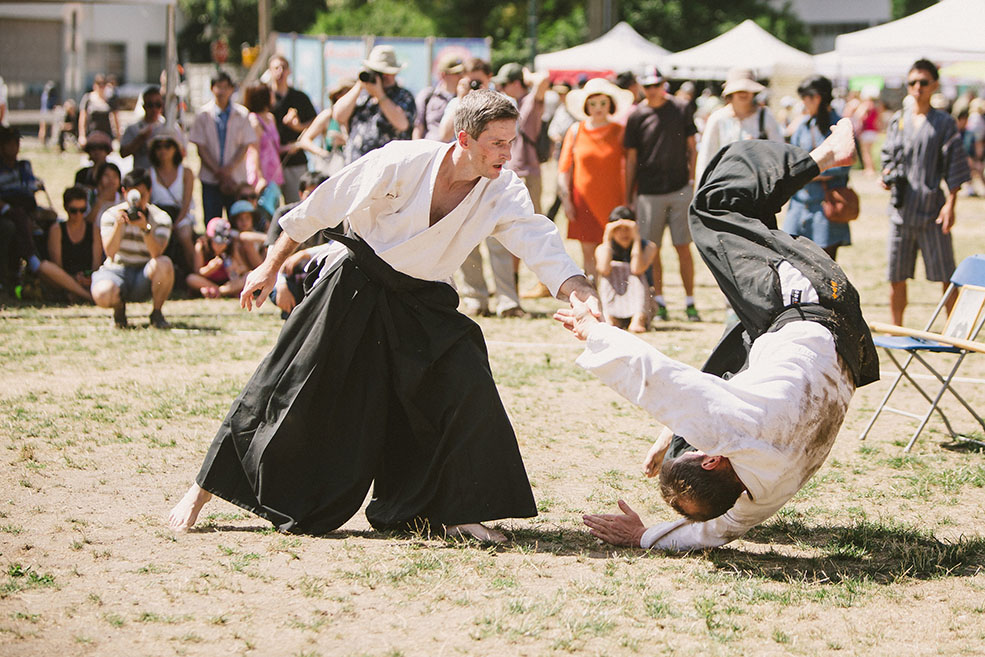 An aikido demonstration at Powell Street Festival (Studio by Jeanie)
