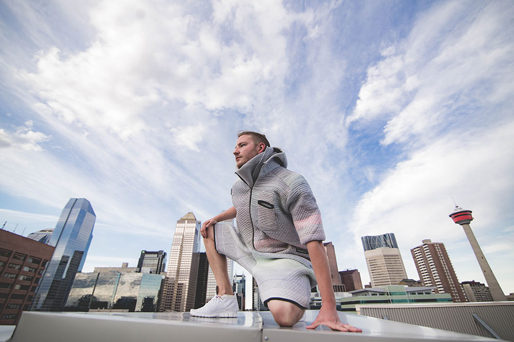 From Beakerhead 2015, Borre Akkersdijk's BB.suit on the rooftop of the Fairmont Hotel Calgary. A suit that measures air quality and purifies the air with a built in purifier. (Kelly Hofer/Flickr)