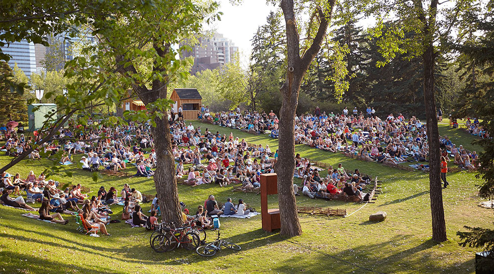 Calgary crowds watching Shakespeare by the Bow (Theatre Calgary)