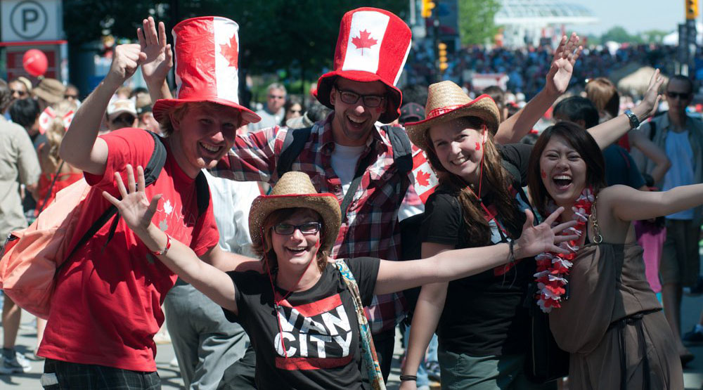 Canada day revellers at canada place canada place