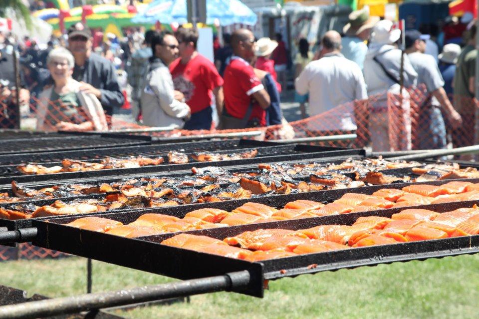Salmon on the BBQ at the Steveston Salmon Festival in 2015 (Steveston Salmon Festival/Facebook)
