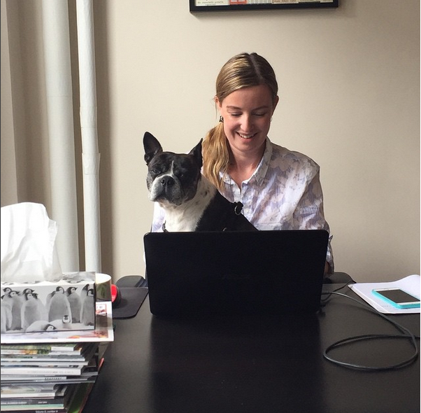 Wendy and her dog Pepper working hard at Fever Pitch Marketing Communications Inc