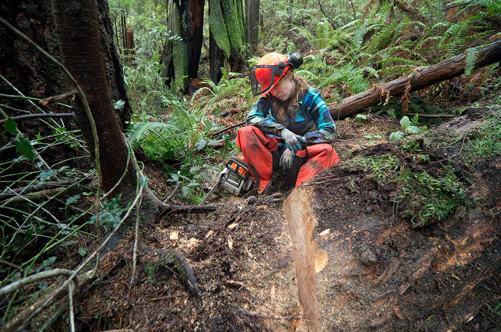 Penny Deck takes a break from trail building (Euan Forrester)