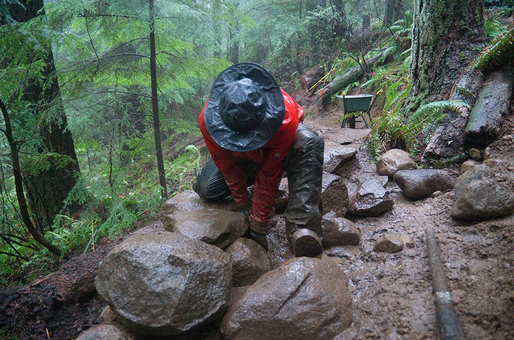 Trail building even in the rain (Euan Forrester)