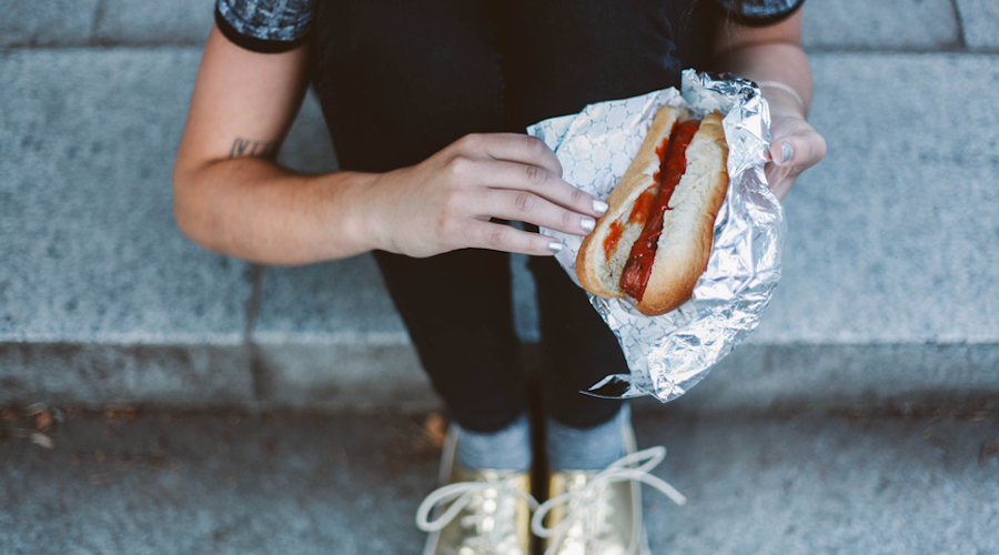 Hot dog city street stocksy