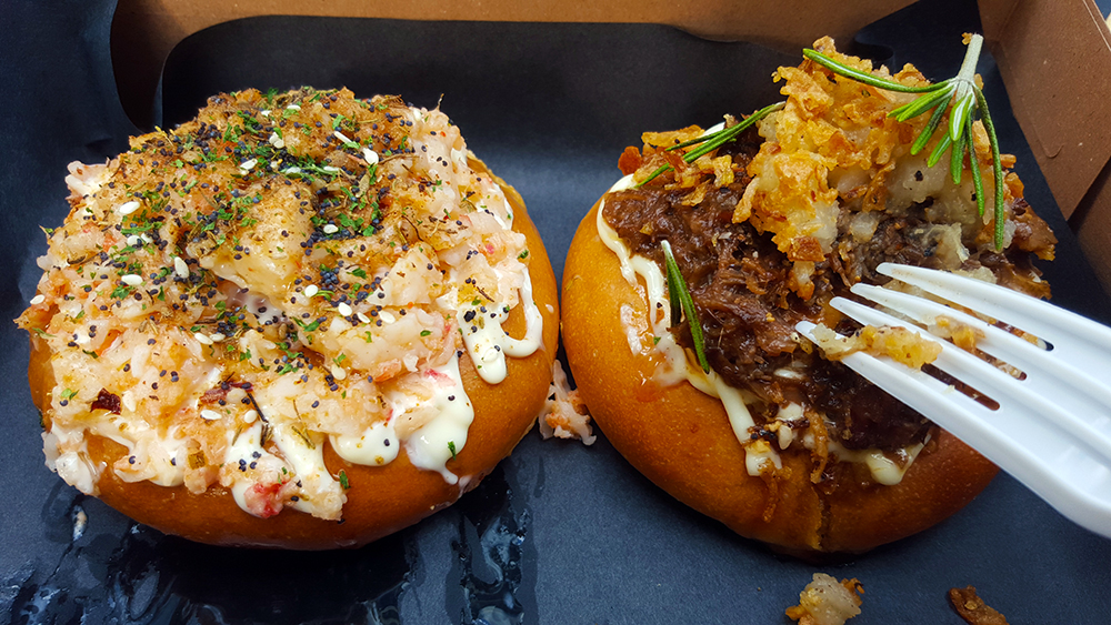 Hotbunzz baked bao with bison and surf and turf