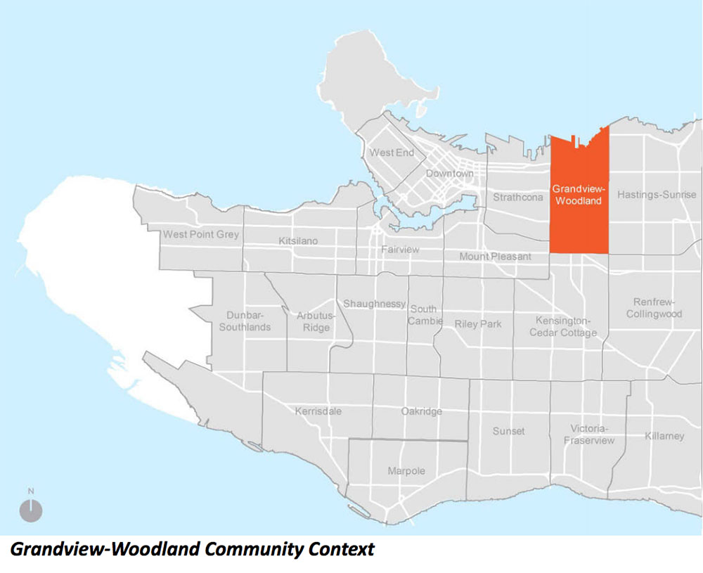 Grandview-Woodland position in Vancouver map (City of Vancouver)