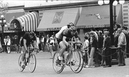 1973: Riders race by the original location of John Fluevog's shoe store in Gastown, then known as Fox Fluevog.