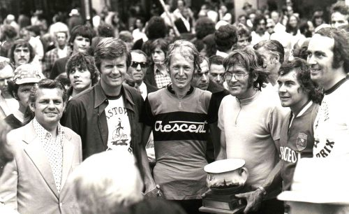 Presenting the 1974 Gastown Grand Prix Trophy to winner Max Grace are (left to right) race sponsor Don Docksteader, Vancouver Mayor Art Phillips and race founder Roger Sumner, who finished third in the race.