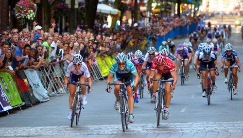 Gina Grain (Webcor Builders) outsprints Kelly Benjamin (Cheerwine Pro Cycling) and Ruth Corset (Jazz Apple Cycling Team) to win a record-tying third Gastown title.