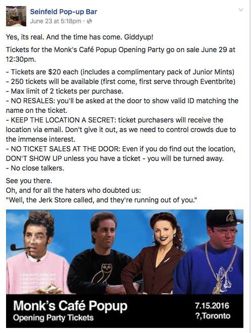 Seinfeld pop-up bar