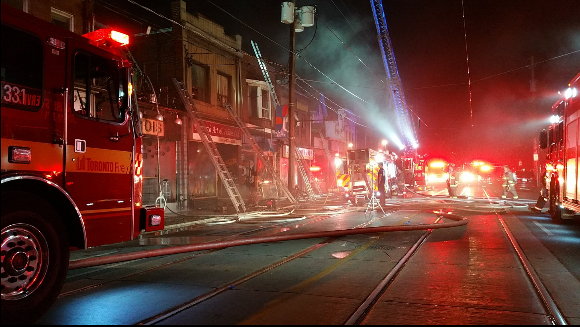 Two Toronto firefighters injured last night in massive 5-alarm fire on Dundas West