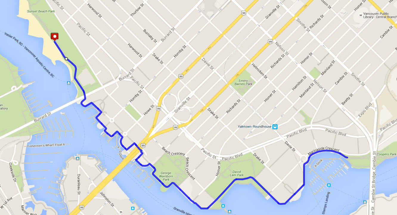 Pride Run and Walk 2016 course map (Vancouver Frontrunners)