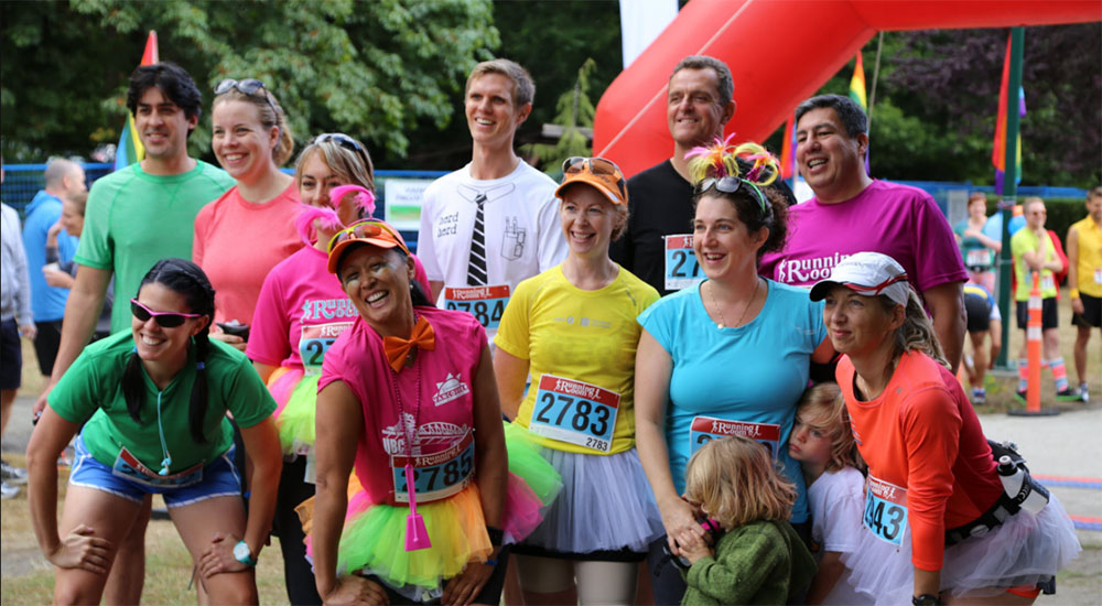 An array of costumes at Pride Run and Walk (Vancouver Frontrunners)