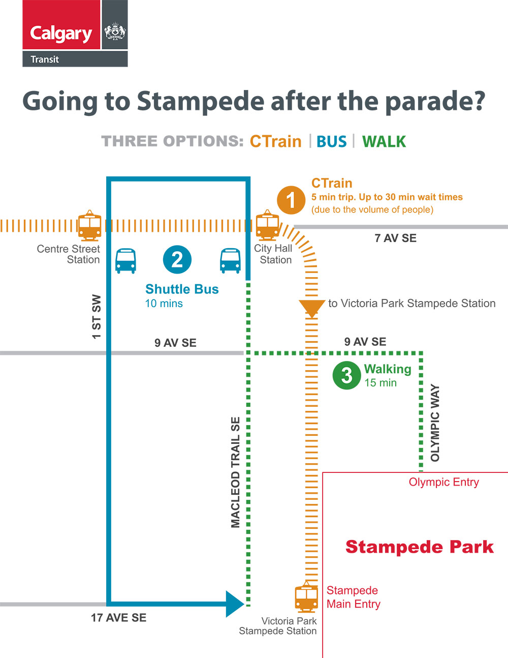 How to get to Calgary Stampede after the Parade (Calgary Transit)
