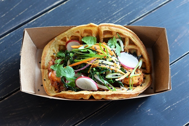 Crispy Chicken Waffle Taco (Jess Fleming/Daily Hive)