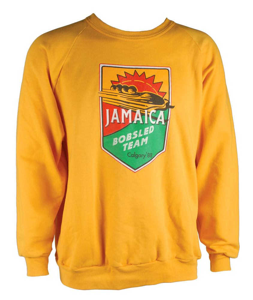 Broadcaster John Morgan's screen-worn yellow Jamaican bobsled team sweater from his cameo appearance in the 1993 film Cool Runnings