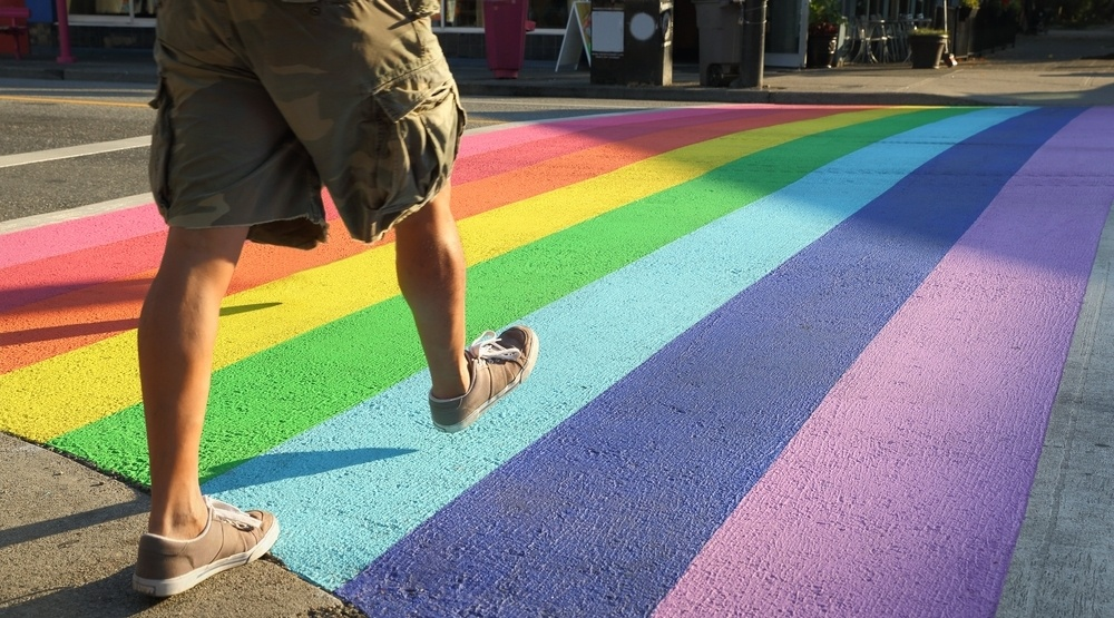 Gay lgbtq vancouver rainbow crosswalk