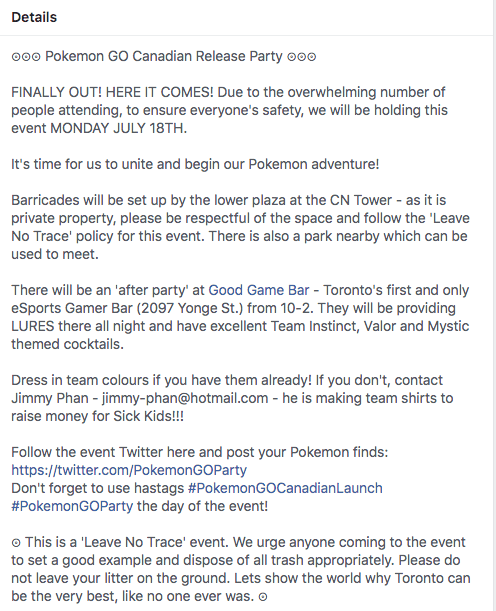 Pokemon Go Canadian release party