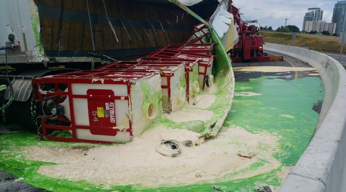 Tractor trailer spills condiments