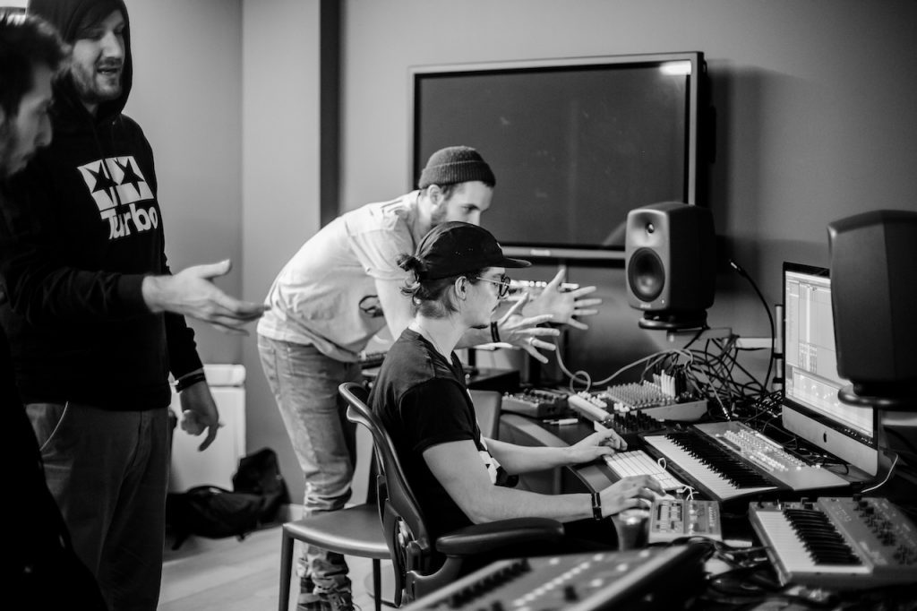 Participants make music in the studio at Red Bull Music Academy Bass Camp at Phi Centre in Montreal, Canada in February, 2015