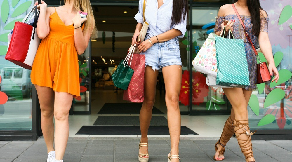 Group of girls shopping